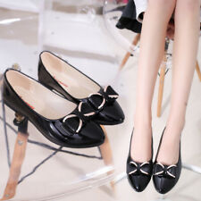 Women Ballerina Ballet Dolly Pumps Slip On Flat Boat Loafers Bow-Knot Shoes Size