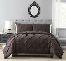 Goose Down Alt Warm Black Grey Plum Blue 3 pcs King Queen Pinched Comforter Set
