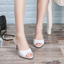 New Womens Patent Low Mid Kitten Heel Slip On Mules Peep toe Sandals Pumps Shoes