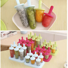 6PCS Popsicle Molds Ice Cream Lolly Bar Makers Plastic Kids Lollies Mould Tray