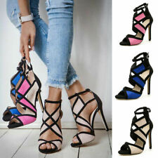 Women Ladies Peep Toe Cut Out Sandals High Heels Cross Strap Party Shoes Fashion