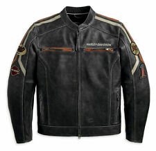 New Mens Retro Harley Davidson Distressed Motorcycle Cowhide Leather Jacket