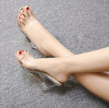 Women Open Toe Clear Transparent Sandals Hollow Out Wedge High Heel Sandal Shoes