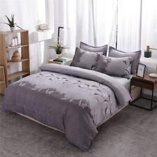 Gray Duvet Cover Sets Twin/Queen/King Size Soft Bedding Set Pillow Case Floral