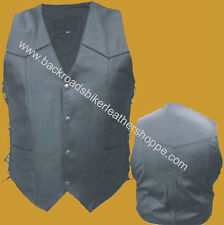 MENS BUFFALO LEATHER VEST SIDE LACES MOTORCYCLE BIKER