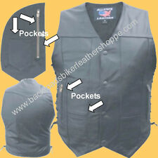 MENS LEATHER MOTORCYCLE VEST SIDE LACES 10 TEN POCKETS SIZES 40-60