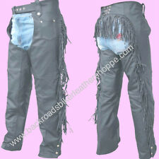 Ladies Women's Leather Motorcycle Biker Chaps with Fringe sizes XS-3X