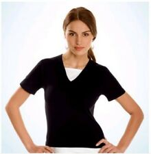 Hanes Plain BLACK Slim Fit Vee V-Neck Womans T-Shirt