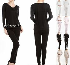 Women's Ladies 100% Silk Long Johns Thermal Underwear Set Size S M L SU101