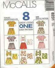 8231 McCalls SEWING Pattern Girls EASY Tops Pull on Shorts UNCUT 8 Looks Summer