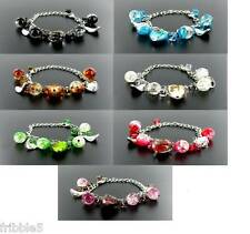 Murano-Style Glass Chain Bracelet PICK COLOR NEW Free S&H!