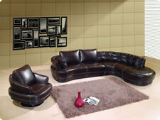 Modern L shape leather sectional sofa chaise chair set