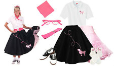 8 pc Black/Pink Poodle Skirt Outfit  (1950s Retro Pink Ladies Clothing Costume)