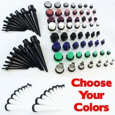 38 Piece Ear Taper Kit+ PLUG set 16G-00G 1.3-10mm Expander Set Choose Colors