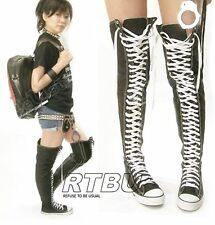 35 Hole Punk Rock emo Goth Ultra Thigh Hi Canvas Lace Up Sneaker Boots Unisex