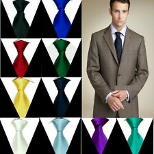 Solid Mens Neck Tie 100% Silk Handmade Plain Necktie SH