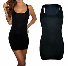 New Long Black Sexy Bodycon Vest dress / Tunic 8 - 18
