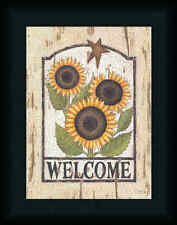 Welcome Sunflowers by Linda Spivey Country Sign 9x12 Framed Art Print Picture
