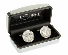 MENS BIRTHDAY GIFT PRESENT CUFFLINKS WITH VINTAGE SIXPENCE COINS NEW & BOXED