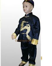 Chinese Boy's Dragon Shirt Pants Suit Blue Size:2-16