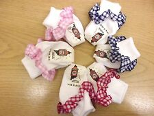 6 Pairs Baby Socks with Frilly Gingham Tops Boy/Girl colour WILL MIX IF REQUIRED