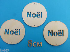 Wooden Laser Cut Shapes CIRCLE with NOEL  Christmas Decorations other choices