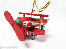 GISELA GRAHAM HANGING CHRISTMAS TREE WOODEN DECORATIONS TRAIN PLANE CAR