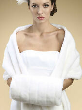 Ivory White Mink Pelted Faux Fur Hand Muffs Mariell 3357M Winter Weddings