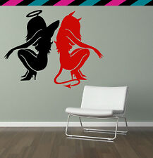 Sexy Angel Demon Devil wings halo horns lady wall decal sticker tattoo decimator