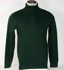 Nautica Button Polo Mock Neck Green Cotton Knit Sweater Mens NWT