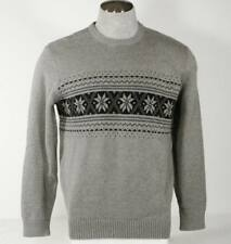 Nautica Crew Neck Cotton Sweater Heather Gray Navy Blue Nordic Pattern Mens NWT