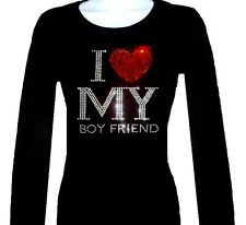 RHINESTONE STUD VALENTINE I LOVE MY BOY FRIEND LONG SLEEVE SHIRT SIZE: S,M,L,XL,