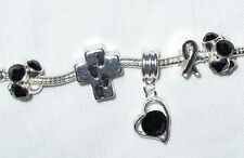 European Charms- Cross Footprints in the Sand -Cancer Awareness- Heart  Dangle