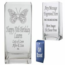 Personalised 22cm Rectangle Vase 70th 75th 80th 85th 90th  Birthday Gift Present