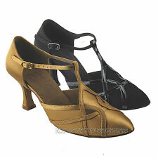 Women's Ballroom Salsa Latin Closed Toe Black Tan Dance Shoes S3801 Very Fine