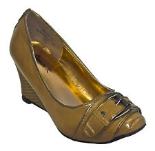 Womens Light Brown Business Wedges with Buckle
