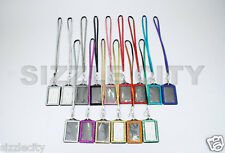 Colored Bling Shimmering Rhinestone Vertical ID Badge Holder Rhinestone Lanyards