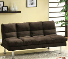 NEW SARATOGA CONTEMPORARY PINK BEIGE CHOCOLATE MICROFIBER FUTON SOFA BED