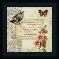 Serenity Prayer Butterfly Bird Vintage Style Framed Art Print Wall Décor Picture