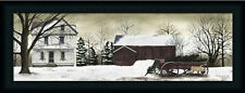Christmas Trees for Sale Primitive by Billy Jacobs Landscape Framed Art 10x30