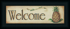 Welcome by Pam Britton Primitive Folk Sign Framed Art Print 18x6 Framed Art