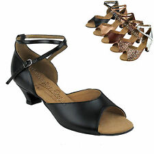 Women's Ballroom Salsa Latin Practice Leather Dance Shoes S9220 Very Fine 1.2""