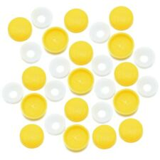NUMBER PLATE YELLOW TWO PIECE DOME SCREW COVER CAP, SNAP ON CAPS, 96 COLOURS FWS