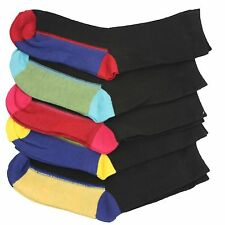 5 pairs of Kids Boys Cotton Rich Chain Store Design Coloured Heel & Toe Socks