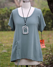 OH MY GAUZE Cotton Ruched Simple ANA  A-Line Top 1 (S/M)  2 (L/XL)  3 (1X)  SAGE