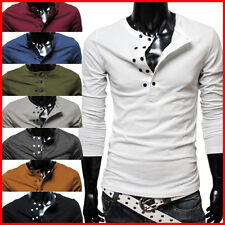 (DK13) THELEES Mens Casual Slim fit Stylish Long Sleeve Button Point Tshirts