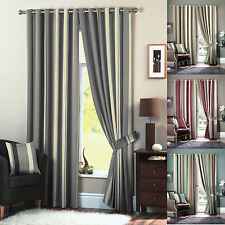 Striped Eyelet Ring Top Ready Made Lined Curtains