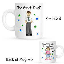 Personalised Fathers Day Bestest Dad Birthday Ceramic Gift Mug From Son Daughter