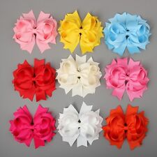 "12PCS Buy Bulk Lot 4.5"" Solid Stacked Boutique Spike Baby Hairbow-U Pick Color"