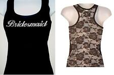 RHINESTONE BRIDESMAID BACK LACE TANK TOP BLACK SIZE:S,M,L,XL,T-SHIRT FREE SHIP